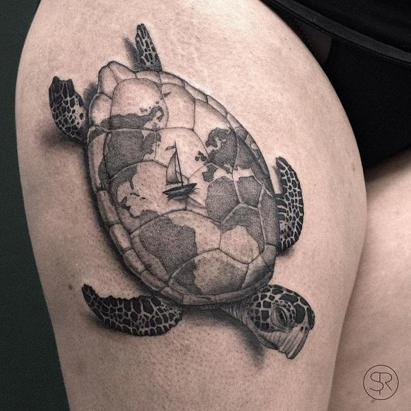 45 turtle tattoo design ideas art and design the world map on the turtle shell seems somewhat mystical and attractive tattoo of an gumiabroncs Gallery