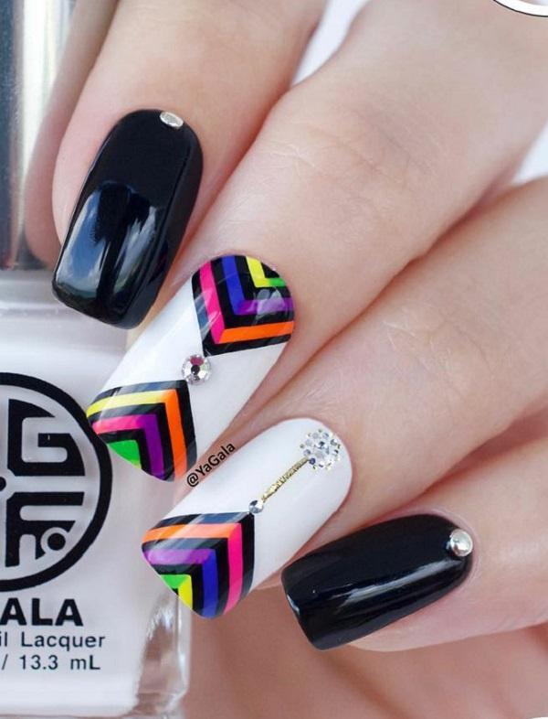 Simplest of designs can create marvels and leave you stunned, like this stripes  nail art ... - 55 Stripes Nail Art Ideas Art And Design