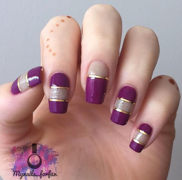 The beauty of simplicity never ceases to amaze. The purple and silver with  gold lining ... - 55 Stripes Nail Art Ideas Art And Design