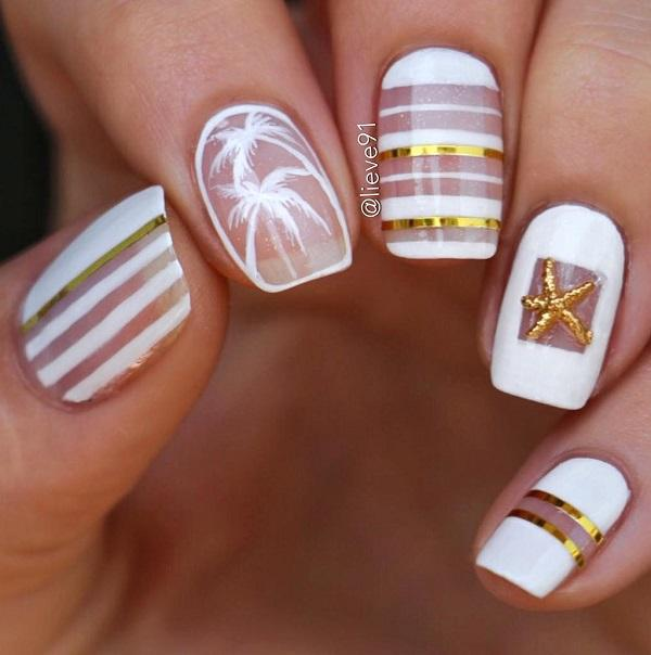 This design was artistically conceived by keeping summers in mind. - 55 Stripes Nail Art Ideas Art And Design