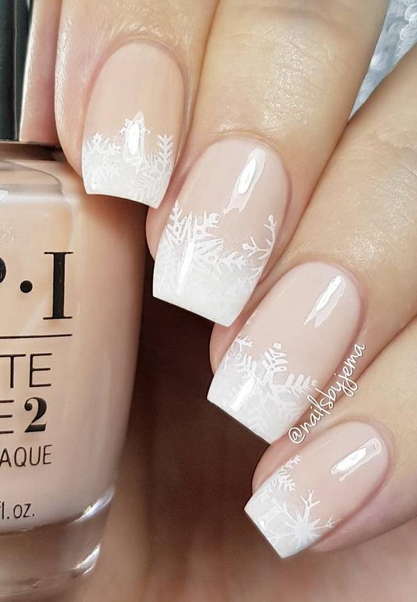 40 snow nail art ideas for winter art and design nude color is always modern and most popular among ladies prinsesfo Image collections