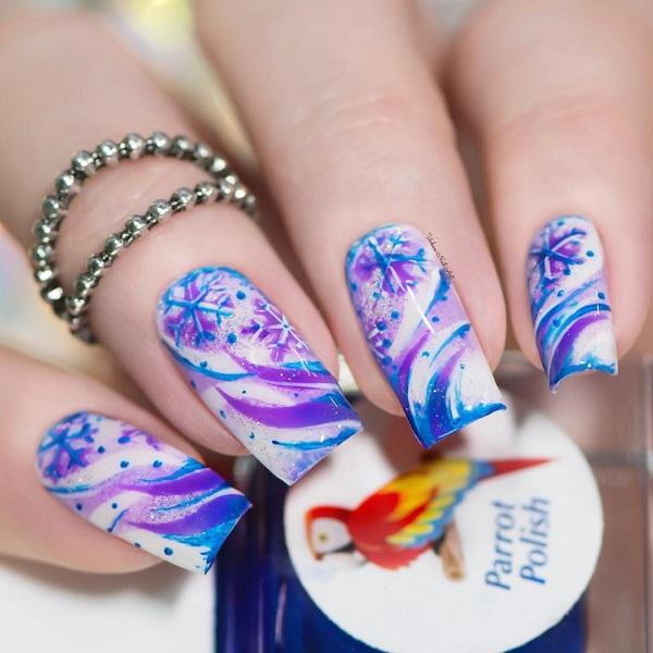 40 snow nail art ideas for winter art and design make white color on your nails more interesting with combination of violet and blue color prinsesfo Gallery