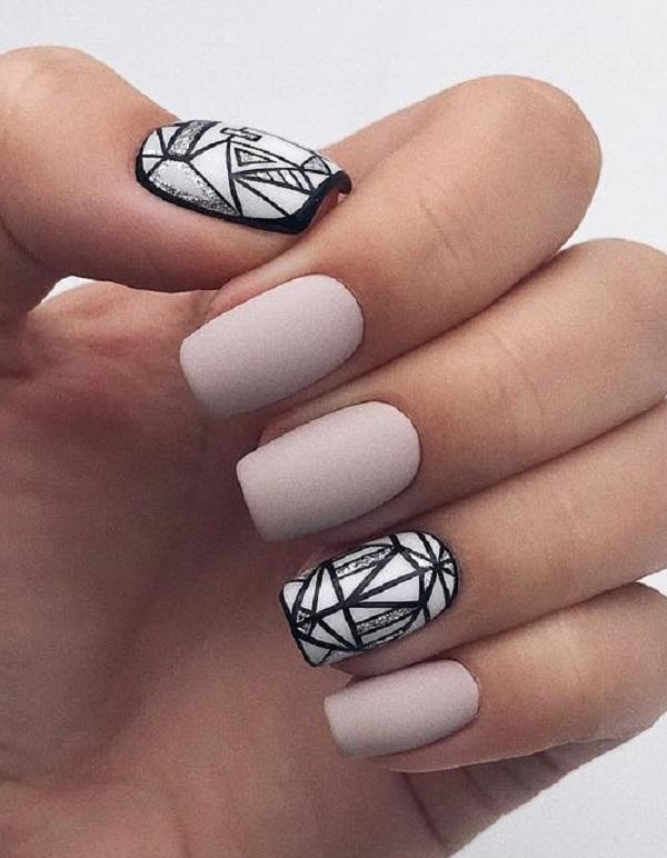 The dark lines and geometric shapes made this slightly boring manicure more  effective. - 45 Classy Nail Art Ideas Art And Design