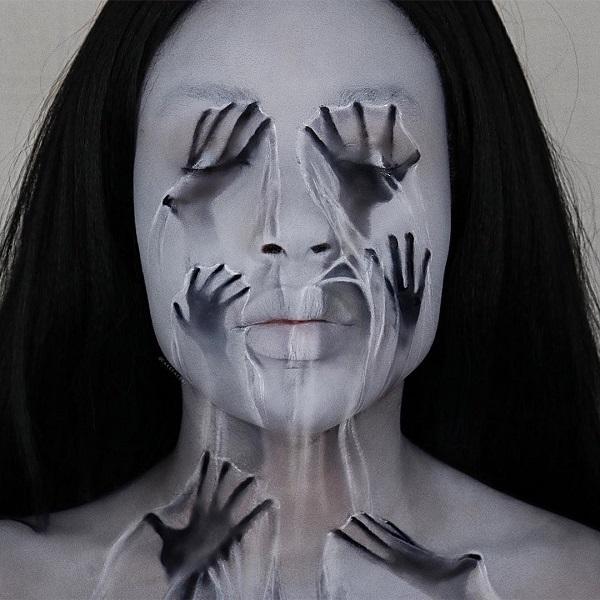 Monster hands Halloween makeup
