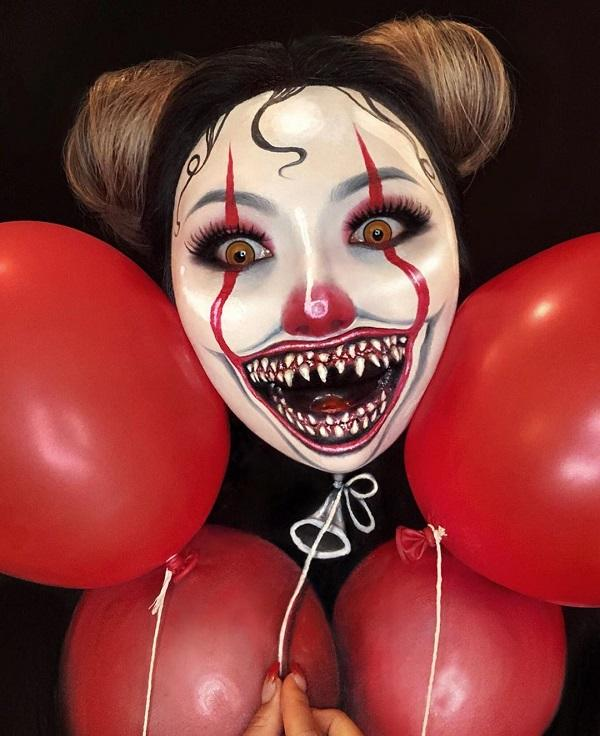 Balloon vampire Halloween makeup