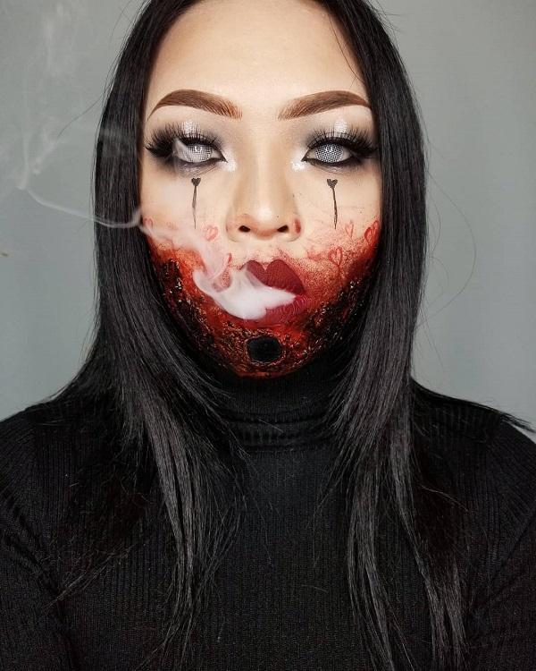 Spooky Zombie Halloween makeup