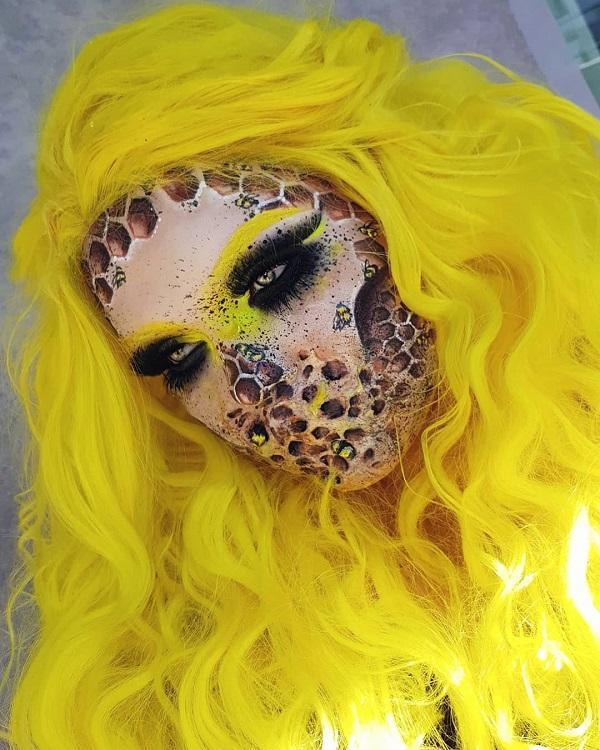 Honeycomb Ghost Halloween makeup
