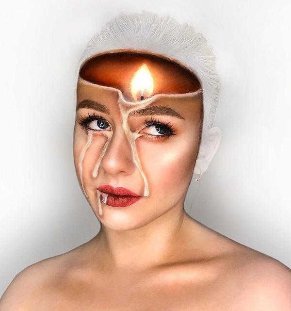 Melting candles Halloween makeup