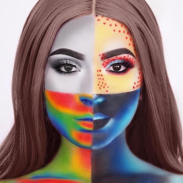 Four-face Halloween makeup