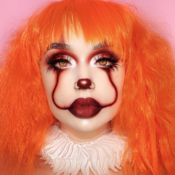 Red Clown Halloween makeup