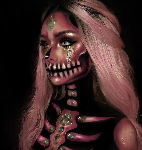Skeleton Lady Halloween makeup