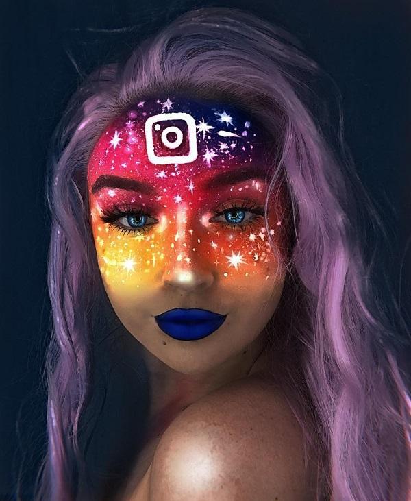 Glow Galaxy Halloween makeup