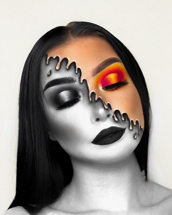 Geometric Grids Halloween makeup