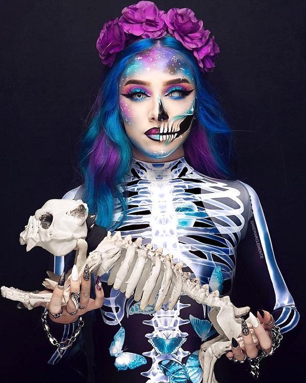 Skeleton Bride Halloween makeup