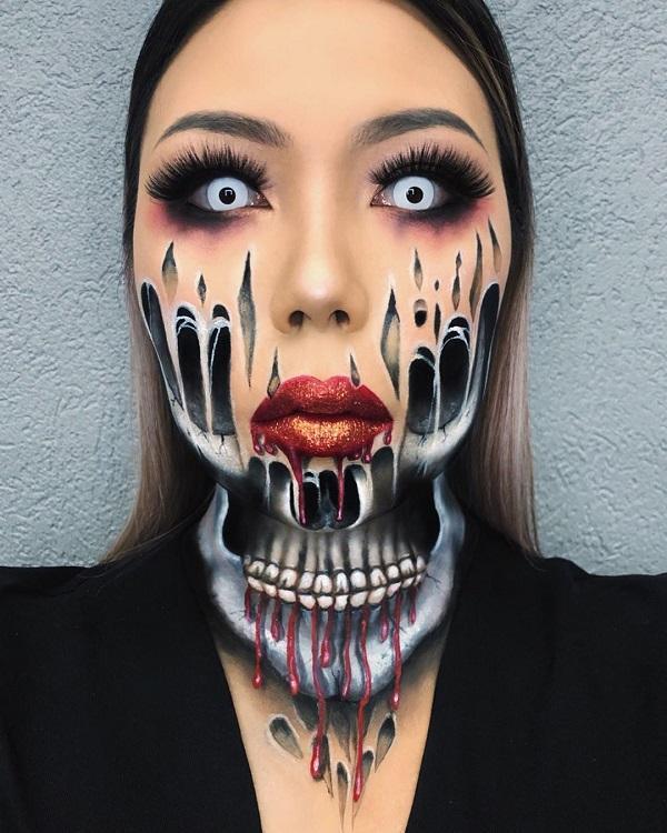 Skull Ghost Halloween makeup
