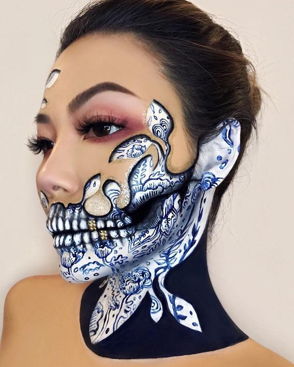 Ocean Skull Halloween makeup
