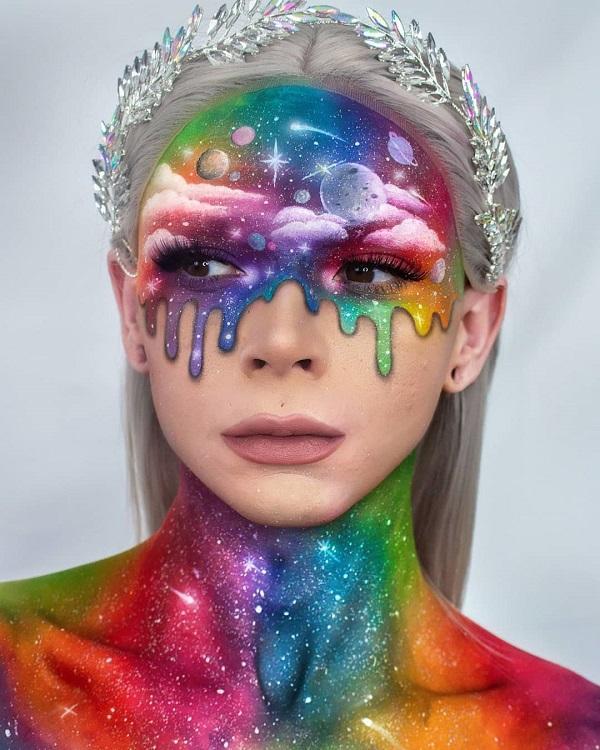 Melting Space Halloween makeup