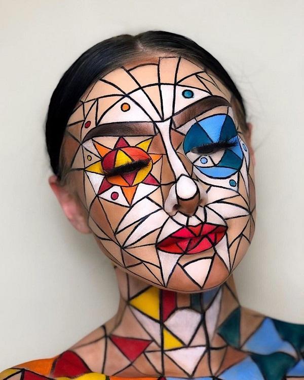 Mosaic Grids Halloween makeup