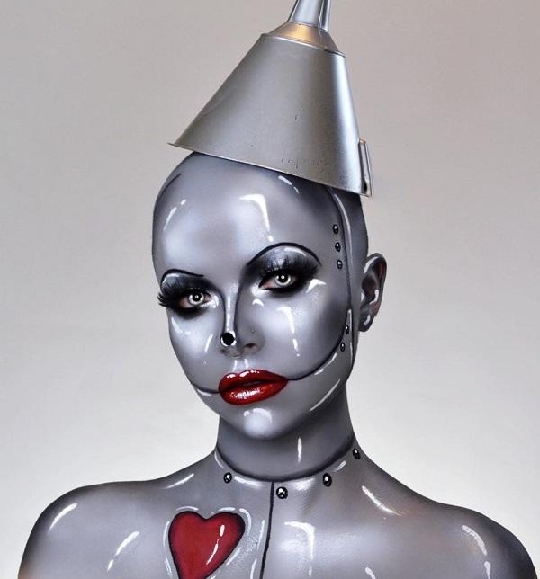 Tin Woman Halloween makeup