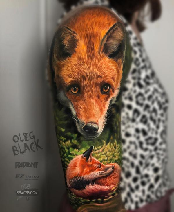 Colorful fox tattoo on arm in 3D stle