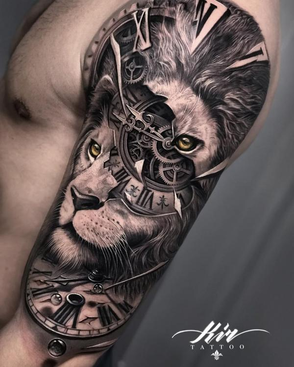 Realistic lion face and clock tattoo in steampunk style