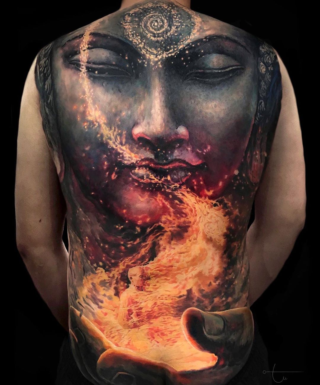firig statue full back tattoo