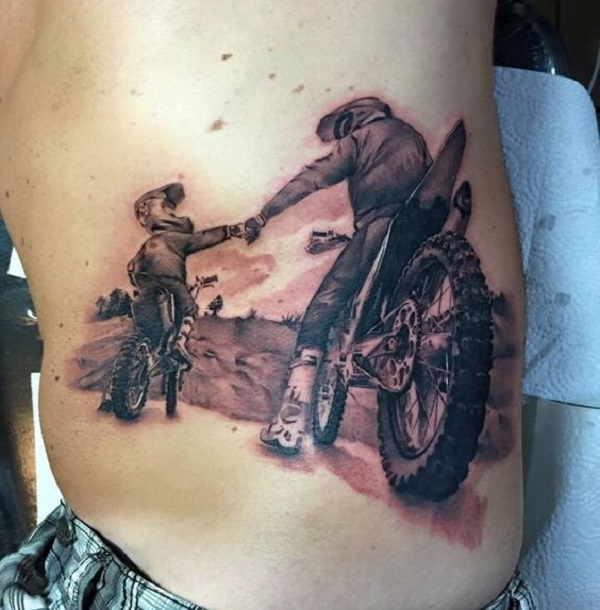 FAMILY TATTOO IDEAS motorcyclists father and son
