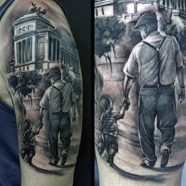 Family bond tattoo in realistic style
