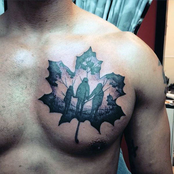 Family members in Maple leaf chest tattoo