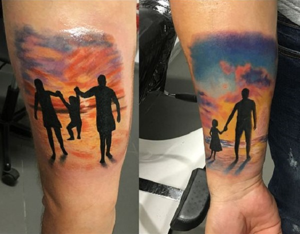Tribute to happiest hours of family tattoo