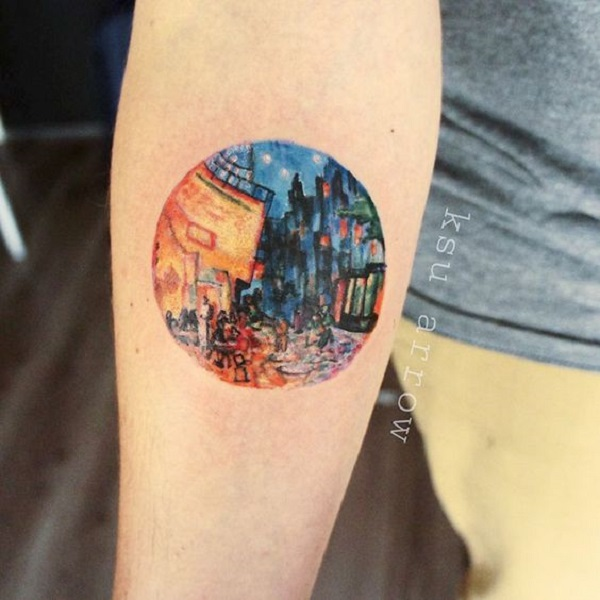 vincent van gogh tattoos A Cafe Terrace at Night Tattoo by KSU Arrow