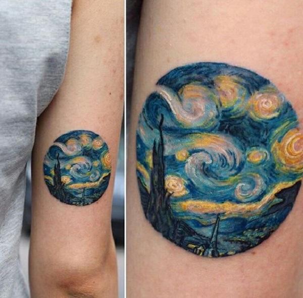 vincent van gogh tattoos A Starry Night Circle