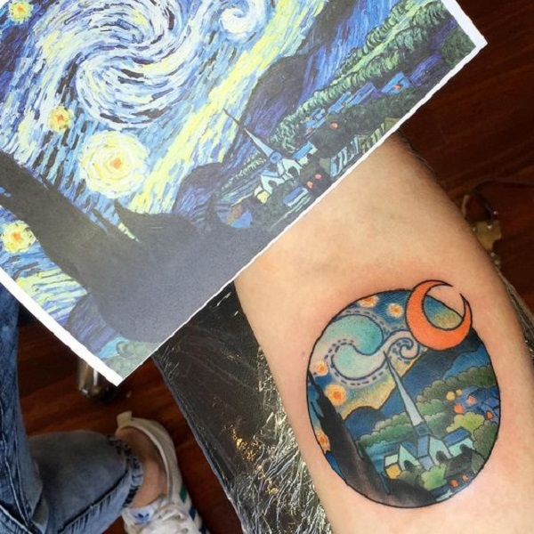 vincent van gogh tattoos City with Starry Night Tattoo