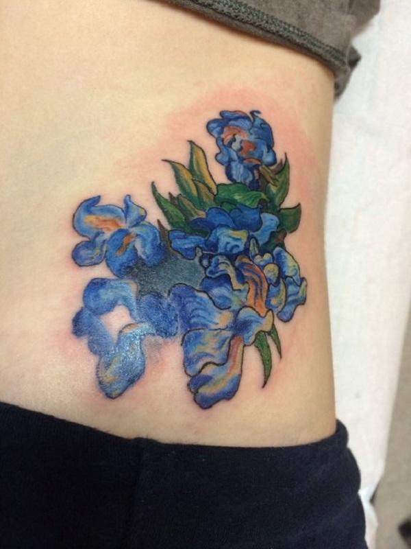 vincent van gogh tattoos Irises Tattoo on Rib