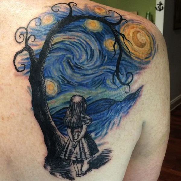vincent van gogh tattoos Lonely Girl in Starry Night Tattoo