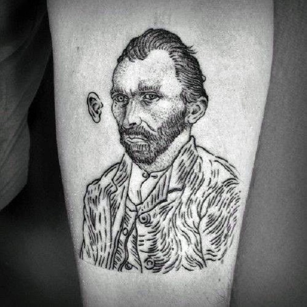 vincent van gogh tattoos Sketched Van Gogh's Tattoo with his Ear Removed