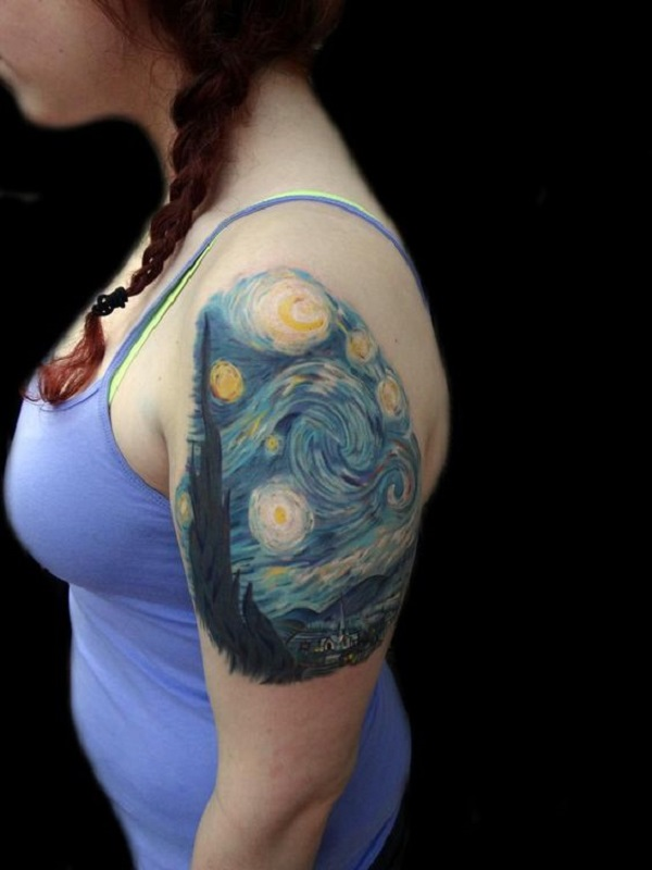 vincent van gogh tattoos Starry Night Sleeve Tattoo for women