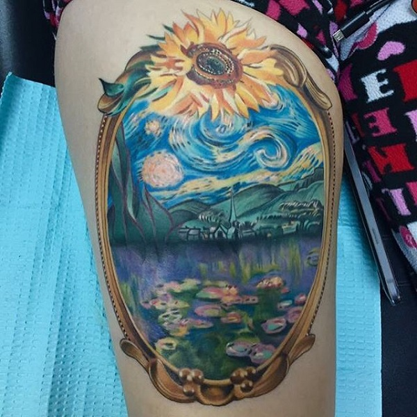 vincent van gogh tattoos Sunflower Mirror Reflecting Starry Night Tattoo
