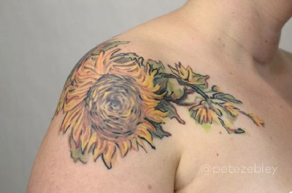 vincent van gogh tattoos Sunflower Out From a Vase by Pete Zebley