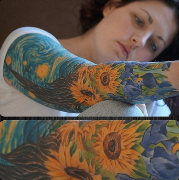vincent van gogh tattoos Sunflowers within the Starry Night