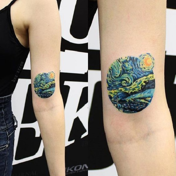 vincent van gogh tattoos The Elegant Looking Starry Night Tattoo