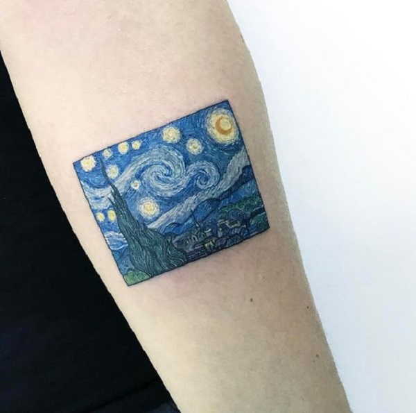 vincent van gogh tattoos The Starry Night on Inner Arm