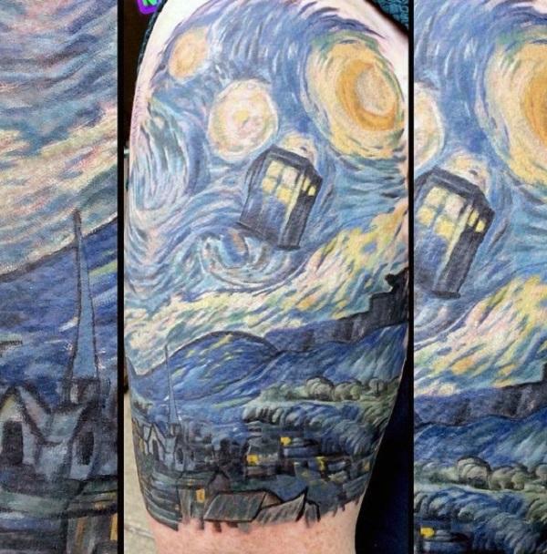 vincent van gogh tattoos The Starry Night upper Sleeve Tattoo