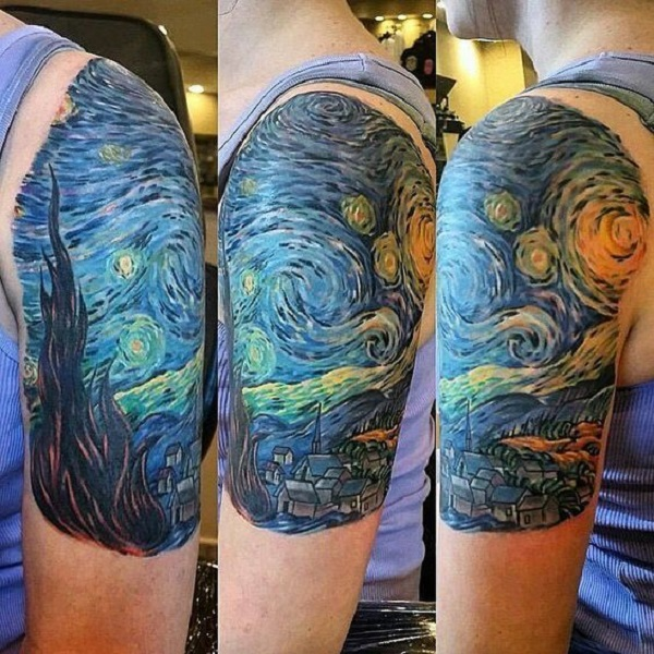 vincent van gogh tattoos The Starry Night upper arm