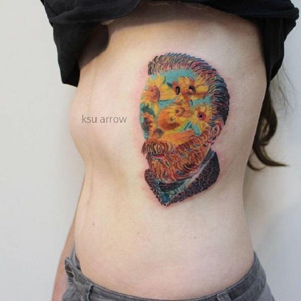 vincent van gogh tattoos Vincent Van Gogh Portrait with Sunflowers
